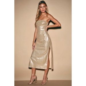 Lulu's Love & Luxury Gold Metallic Midi Slit Dress